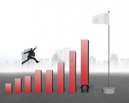 Businessman jumping over bar charts to blank flag with cityscape