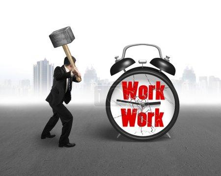 businessman using sledgehammer hitting work clock broken glass w