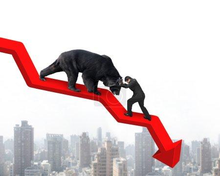 Photo pour Homme d'affaires contre ours noir sur la flèche rouge ligne de tendance à la baisse avec fond ciel paysage urbain. Lutter contre le concept de marché baissier . - image libre de droit