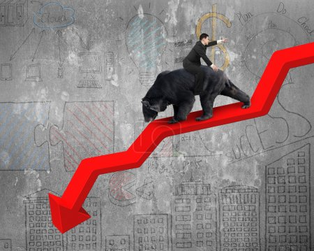Photo for Businessman riding black bear on red arrow downward trend line with business doodles concrete wall background. Fight back bearish market concept. - Royalty Free Image