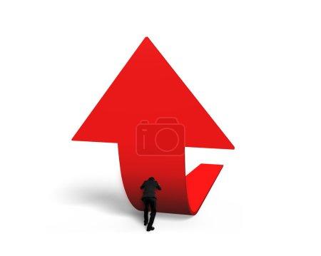 Photo pour Homme poussant tendance rouge flèche 3D vers le haut isolé sur fond blanc - image libre de droit