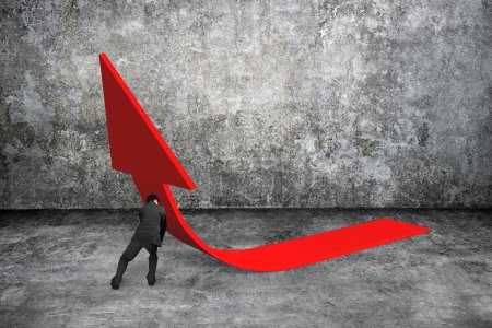 Man pushing red trend 3D arrow up