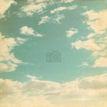Photo for Old paper background with blue sky and white clouds - Royalty Free Image