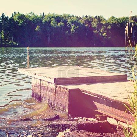 Wooden  pier in summer