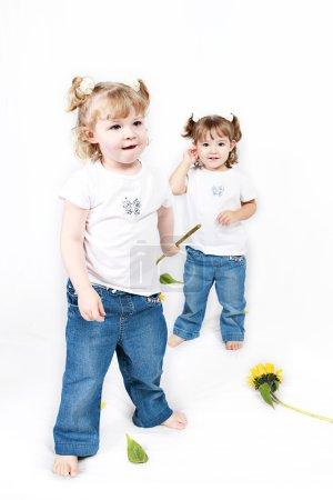 Foto de Adorables hermanitas con girasoles aislados sobre fondo blanco - Imagen libre de derechos