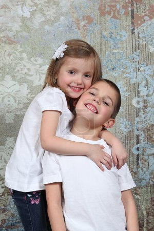 Little brother and Sister in studio