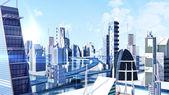 Futuristic sci-fi city street view, 3d digitally rendered illustration