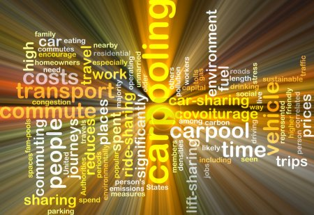 carpooling wordcloud concept illustration glowing