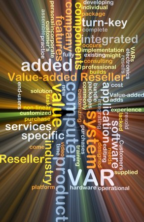 Value added reseller VAR background concept glowing