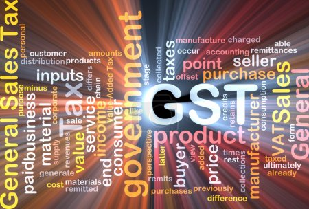 GST wordcloud concept illustration glowing