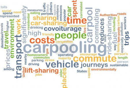 carpooling wordcloud concept illustration