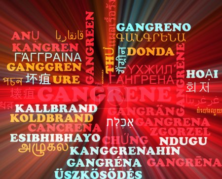 Gangrena multilenguaje wordcloud fondo concepto brillante