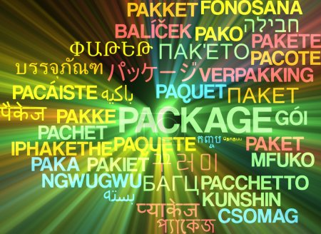 Package multilanguage wordcloud background concept glowing