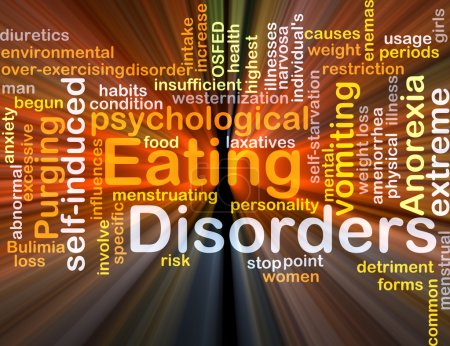 Photo for Background concept wordcloud illustration of eating disorders glowing light - Royalty Free Image