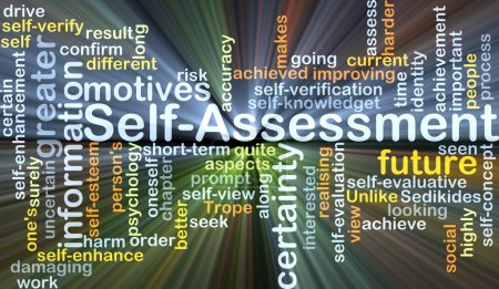 Self-assessment background concept glowing