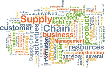 Photo for Background concept wordcloud illustration of supply chain - Royalty Free Image