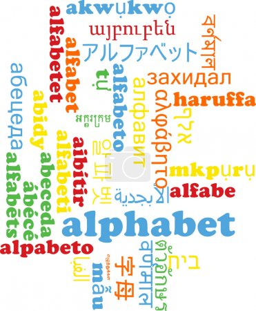 Alphabet multilanguage wordcloud background concept