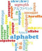 Alphabet multilanguage wordcloud background concept