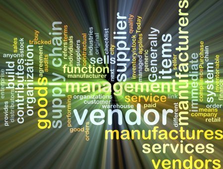 Photo for Background concept wordcloud illustration of vendor glowing light - Royalty Free Image