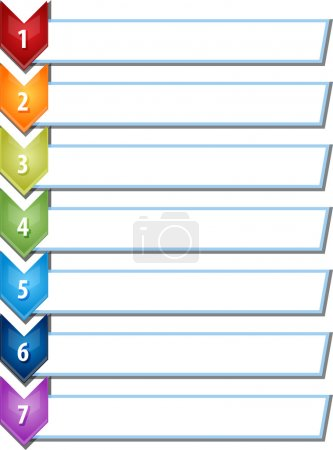 Seven blank business diagram chevron list illustration