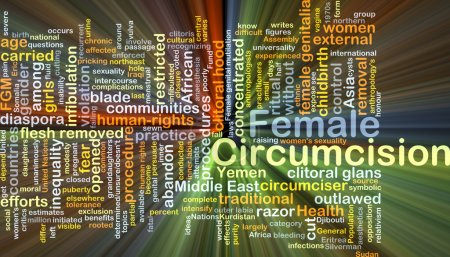 Female circumcision background concept glowing