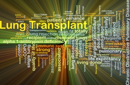 Lung transplant background concept glowing