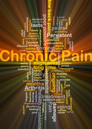 Chronic pain background concept glowing