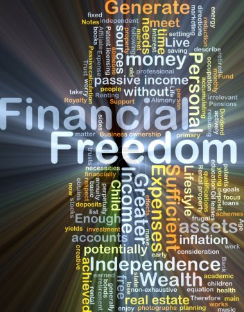 Financial freedom background concept glowing