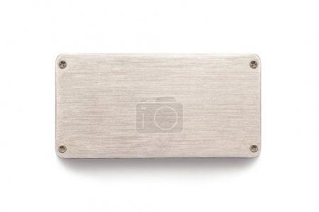 Photo for Metal plate sign board on white - Royalty Free Image