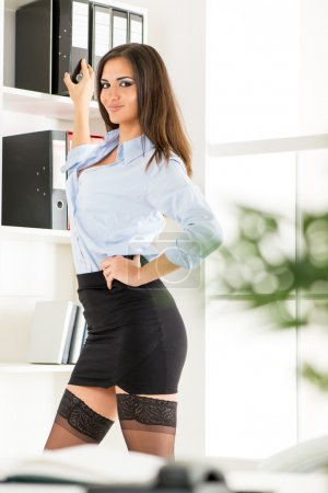 Sexy Secretary With Binders