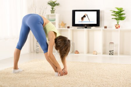 Stretching Exercises In Front Of TV