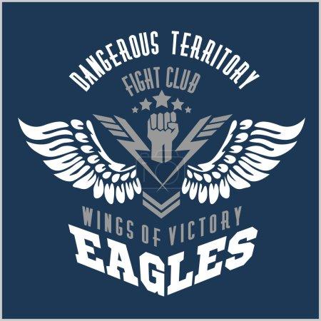 Photo pour Ailes d'aigle - étiquette militaire, les écussons et les éléments de conception - image libre de droit