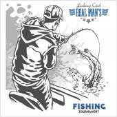 Fisherman and fish - vintage illustration plus retro emblem