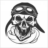 hell pilot - skull with helmet and glasses