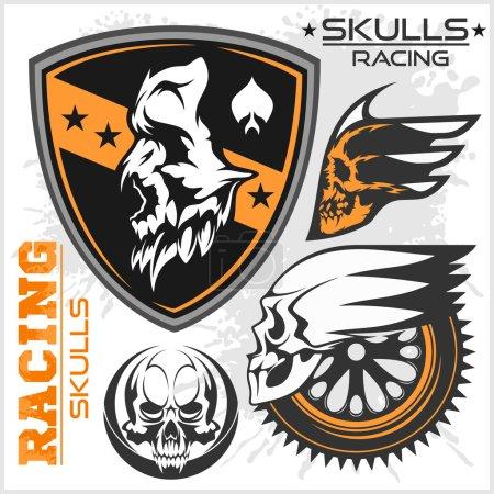 Skulls and car racing symbols