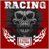 Motor racing demon - emblem for t-shirt