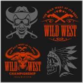 Set of vintage cowboy emblems labels badges logos and designed elements Wild West theme