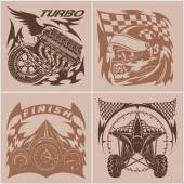 Auto racing emblems - Sport car logo illustration on light background