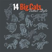 14 Big Cats in tribal style Vinyl ready vector set