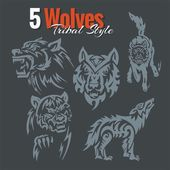 Wolves in tribal style Vector set