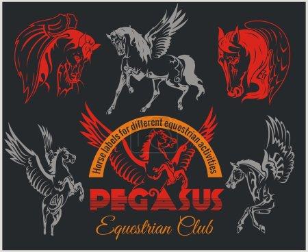 Pegasus and horses vintage labels, badges