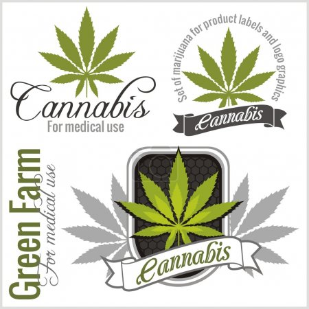 Marijuana set - cannabis. Vector illustration for product labels and logo graphics