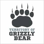 footprint grizzly bear - vector illustration