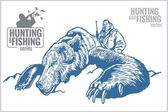 Hunter and bear - vintage illustration