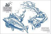 Underwater hunter and fish - vintage illustration