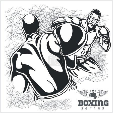 Boxing Match Retro Illustration on