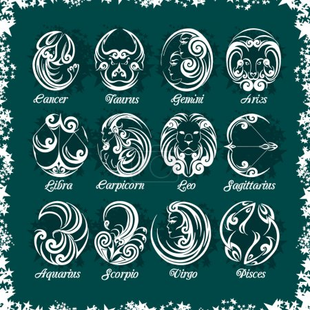 Illustration for Zodiac signs and icons on dark background. Vector set - Royalty Free Image