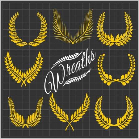 Laurel wreaths vector set