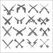 Постер, плакат: Crossed Weapons Vector Collection in white background