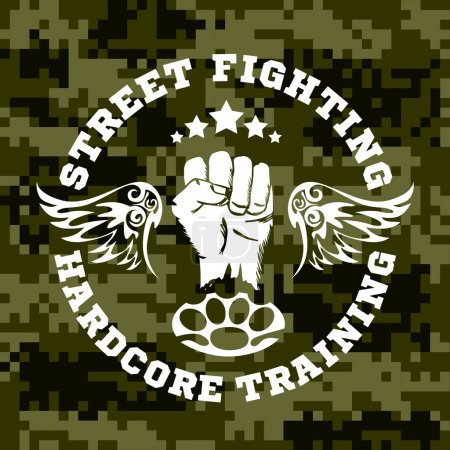 Street fighting emblem with fist and wings on camouflage background.